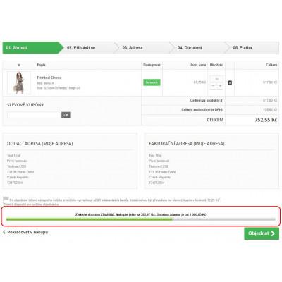Zobrazenie zvyšnej sumy v nákupnom košíku pre PrestaShop 1.6