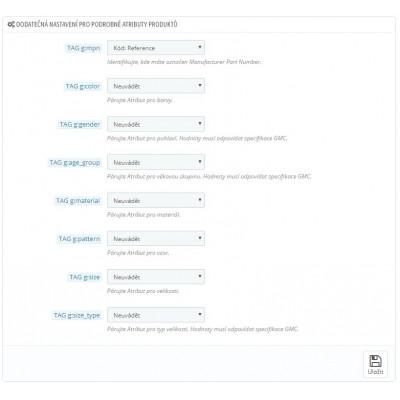 Detailné nastavenie tagov pre vlastnosti a atribúty