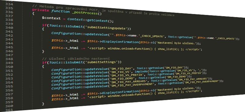 Ukážka kódovanie modulu