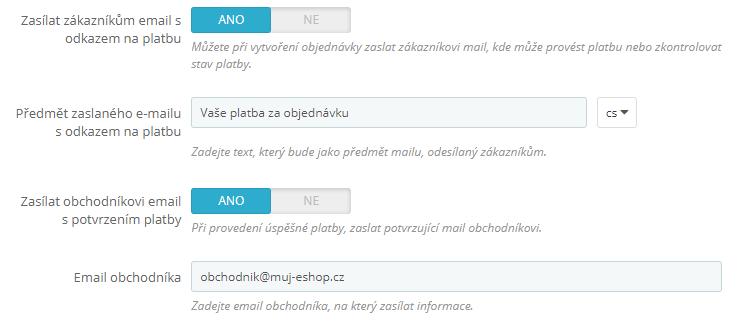 ComGate pre PrestaShop - emailový servis