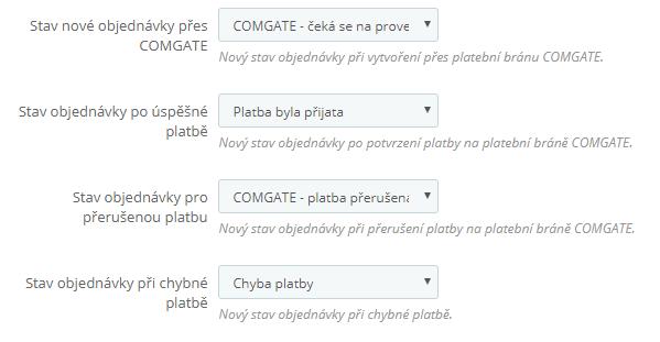 ComGate pre PrestaShop - konfigurácia stavov objednávok